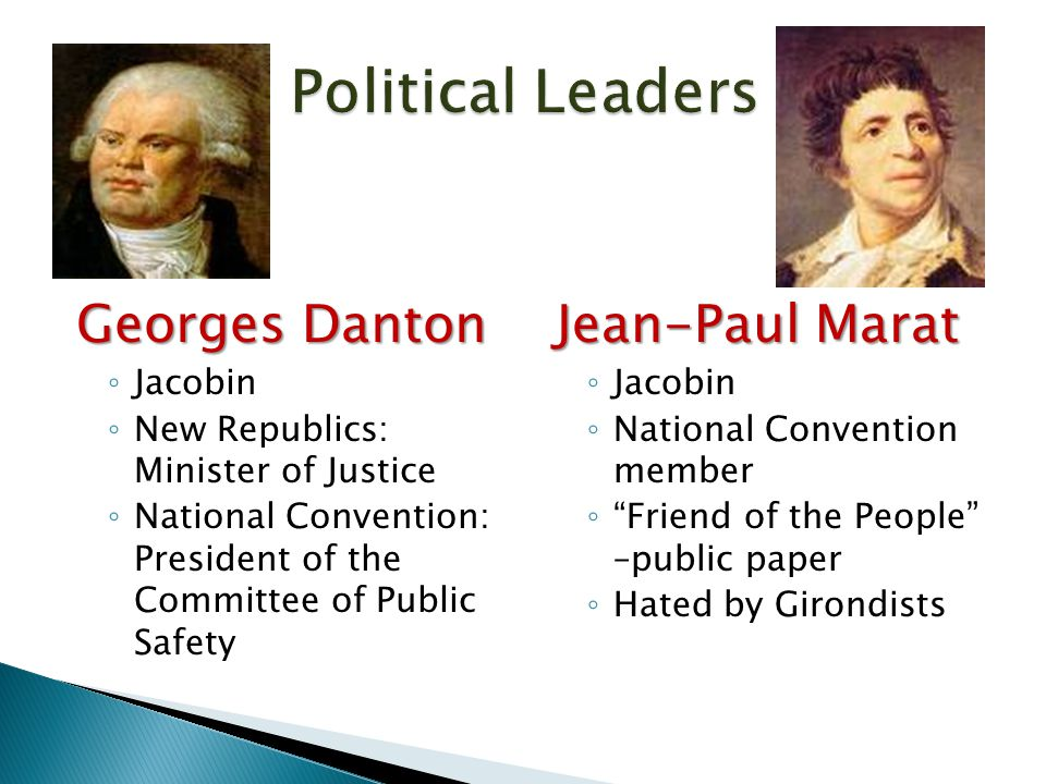 Georges Danton ◦ Jacobin ◦ New Republics: Minister of Justice ◦ National Convention: President of the Committee of Public Safety Jean-Paul Marat ◦ Jac