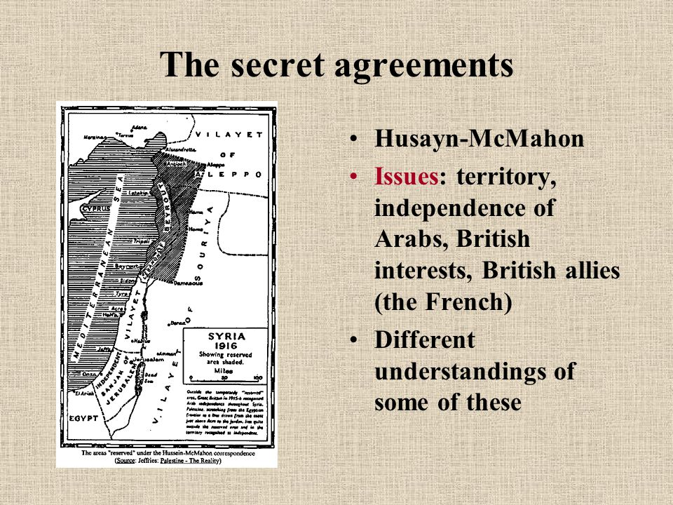 The secret agreements Husayn-McMahon Issues: territory, independence of Arabs, British interests, British allies (the French) Different understandings of some of these