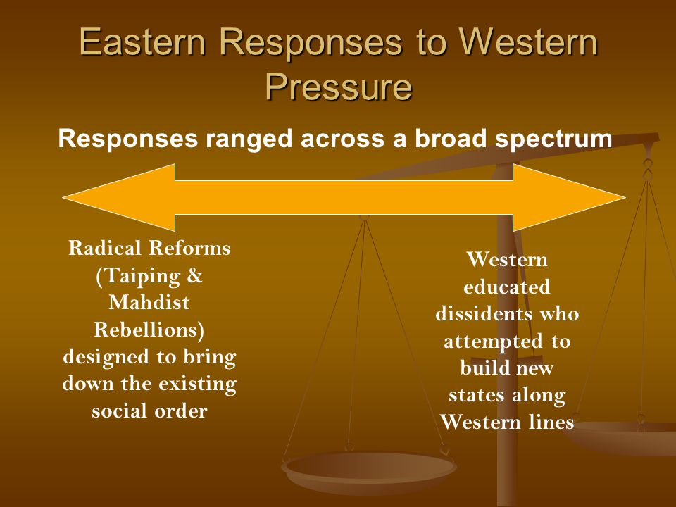 Eastern Responses to Western Pressure Responses ranged across a broad spectrum Radical Reforms (Taiping & Mahdist Rebellions) designed to bring down the existing social order Western educated dissidents who attempted to build new states along Western lines