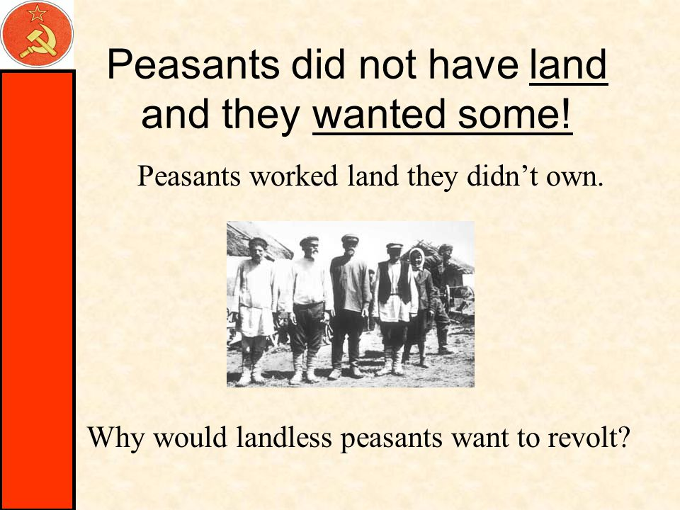 Peasants did not have land and they wanted some. Peasants worked land they didn't own.