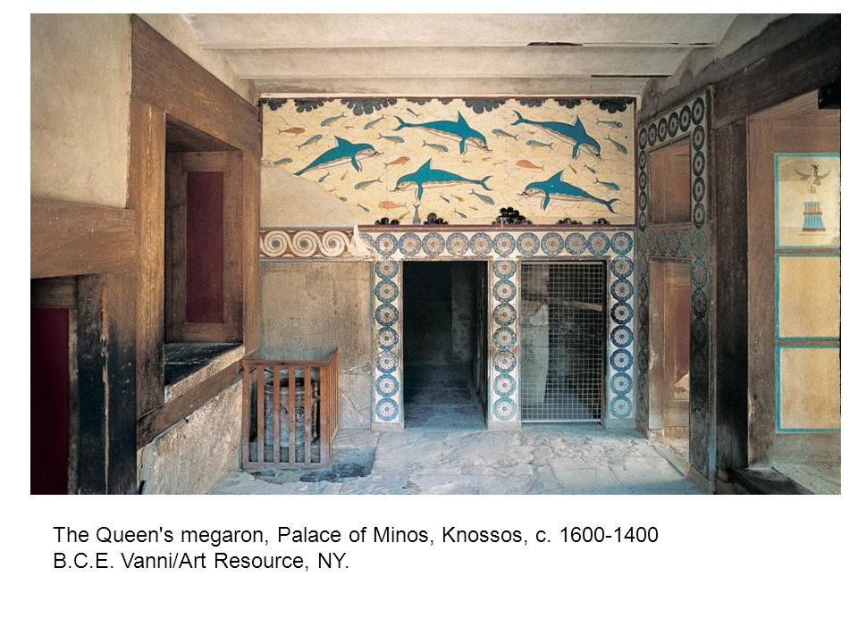 The Queen's megaron, Palace of Minos, Knossos, c. 1600-1400 B.C.E. Vanni/Art Resource, NY.