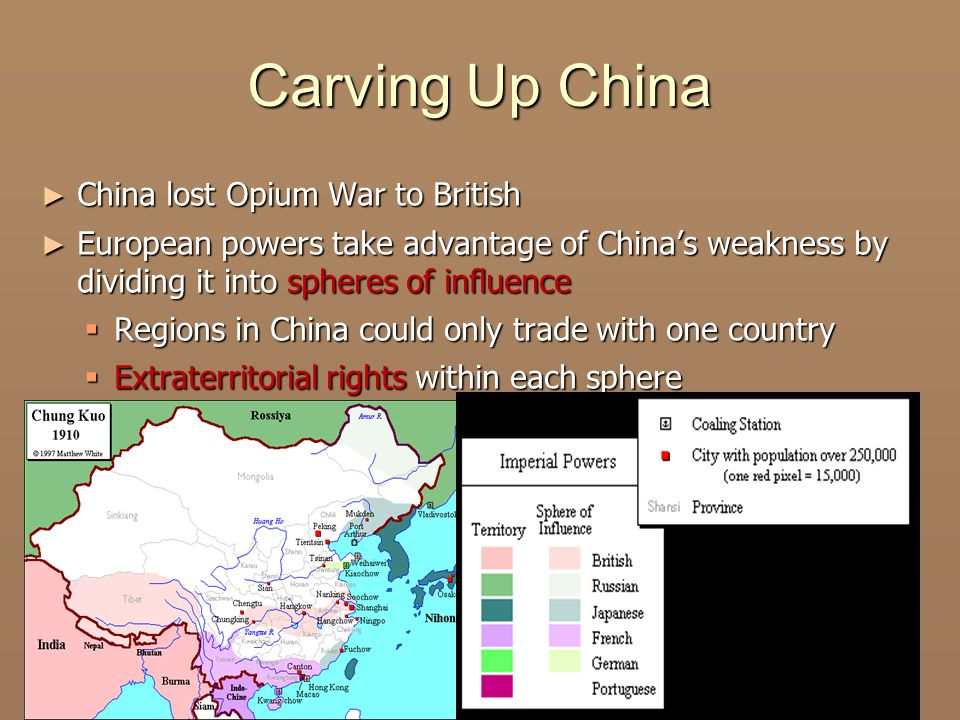 Carving Up China ► China lost Opium War to British ► European powers take advantage of China's weakness by dividing it into spheres of influence  Regions in China could only trade with one country  Extraterritorial rights within each sphere