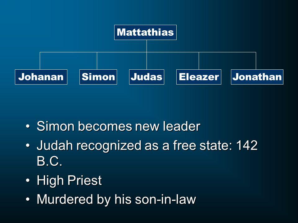Mattathias JohananJudasSimonEleazerJonathan Simon becomes new leaderSimon becomes new leader Judah recognized as a free state: 142 B.C.Judah recognized as a free state: 142 B.C.