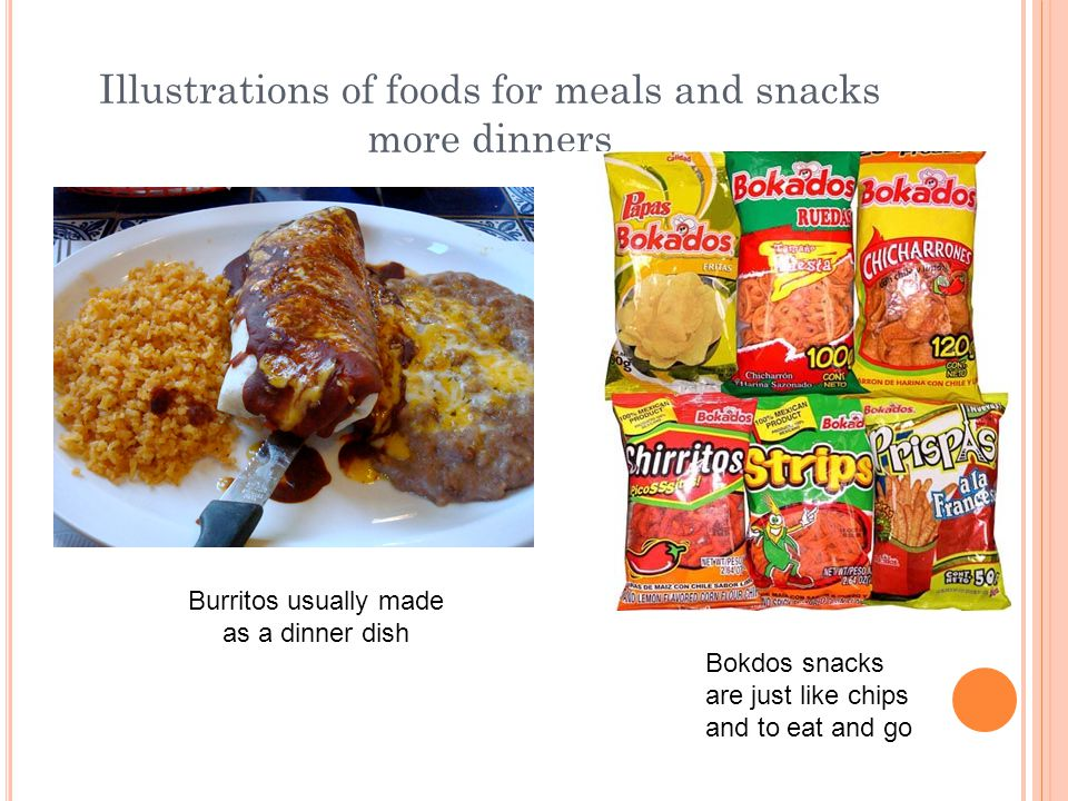 Illustrations of foods for meals and snacks more dinners Burritos usually made as a dinner dish Bokdos snacks are just like chips and to eat and go
