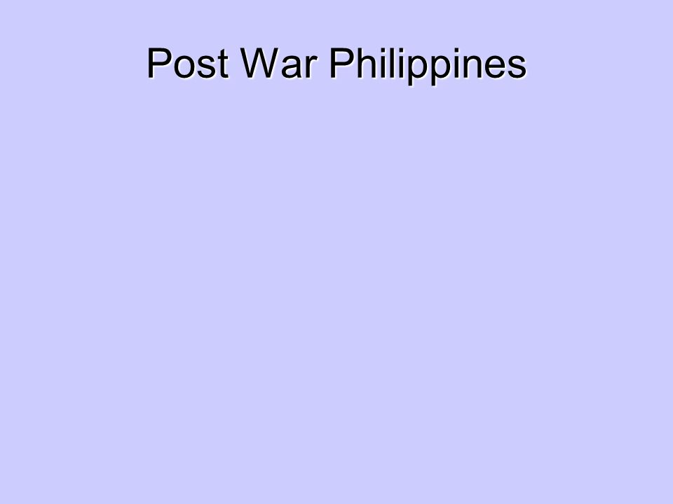 Post War Philippines