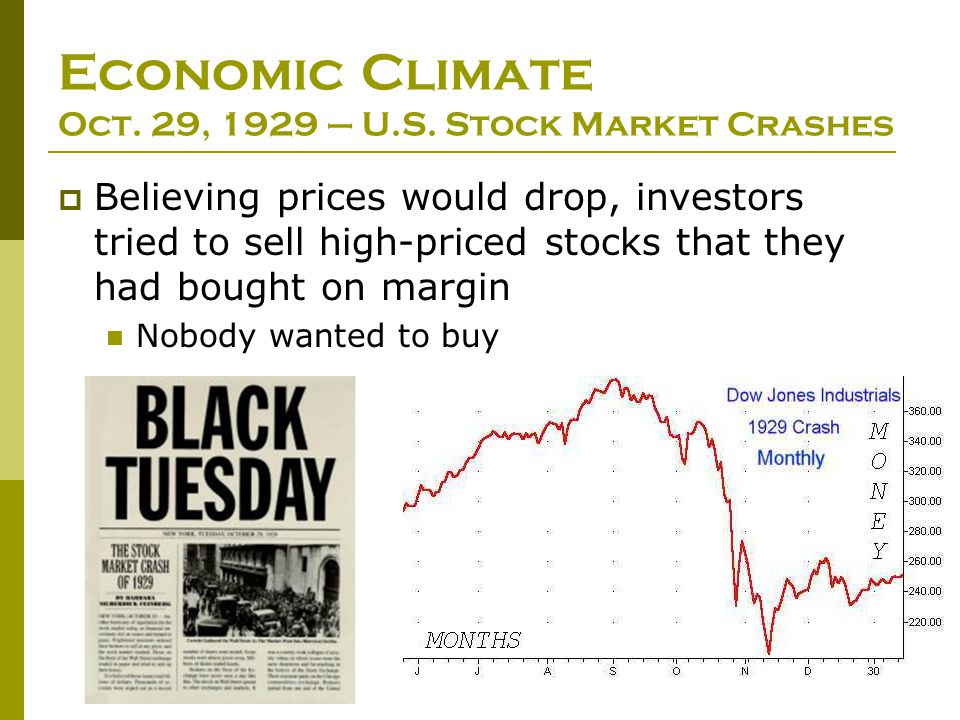 Economic Climate Oct. 29, 1929 – U.S. Stock Market Crashes  Believing prices would drop, investors tried to sell high-priced stocks that they had bou