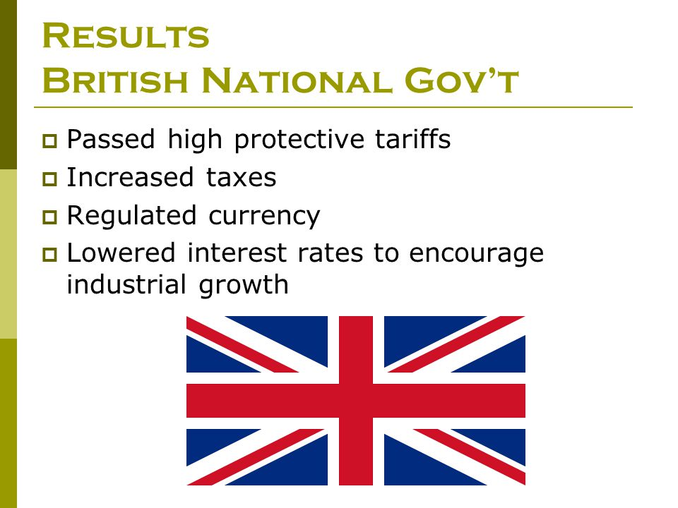 Results British National Gov't  Passed high protective tariffs  Increased taxes  Regulated currency  Lowered interest rates to encourage industria