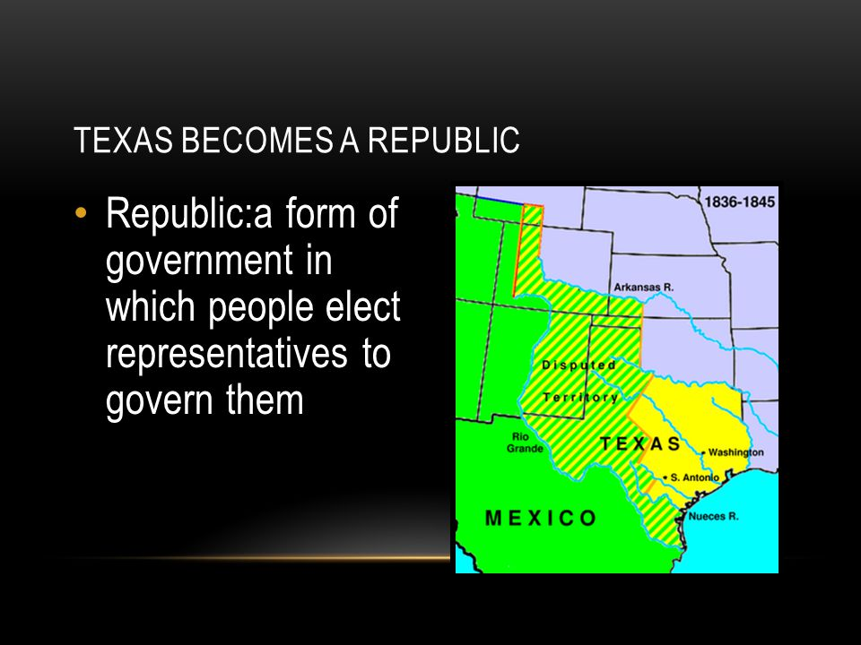 TEXAS BECOMES A REPUBLIC Republic:a form of government in which people elect representatives to govern them