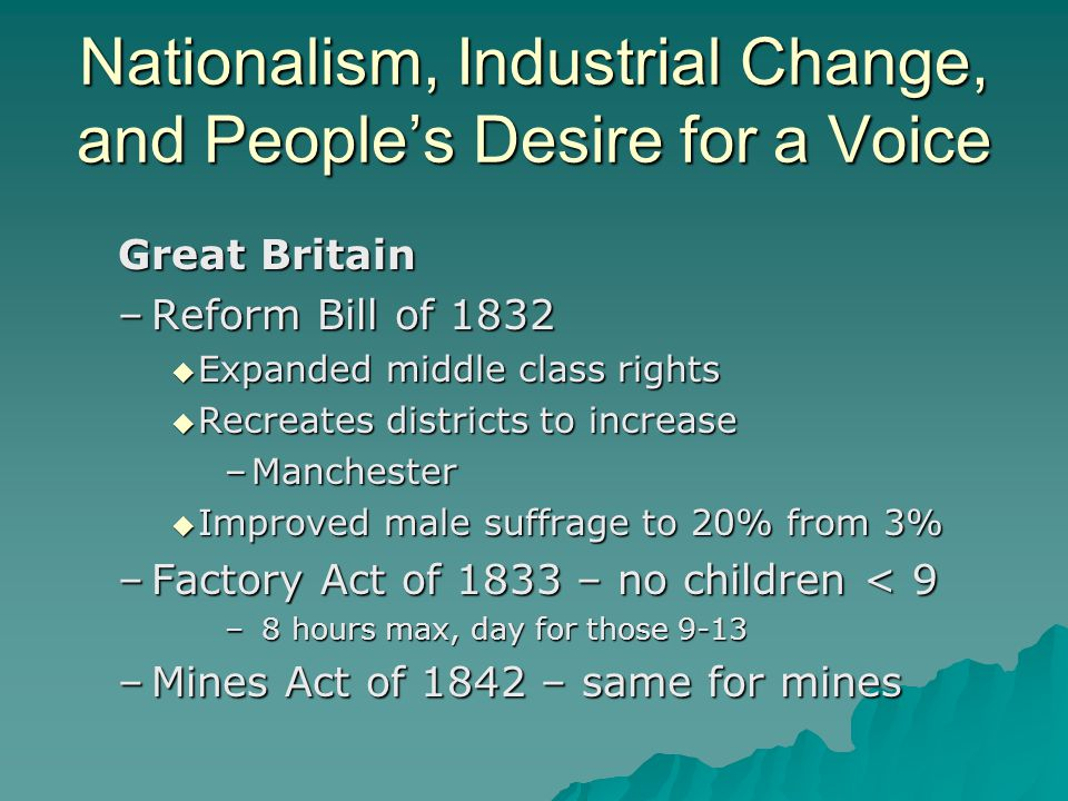 Nationalism, Industrial Change, and People's Desire for a Voice Great Britain –Reform Bill of 1832  Expanded middle class rights  Recreates district