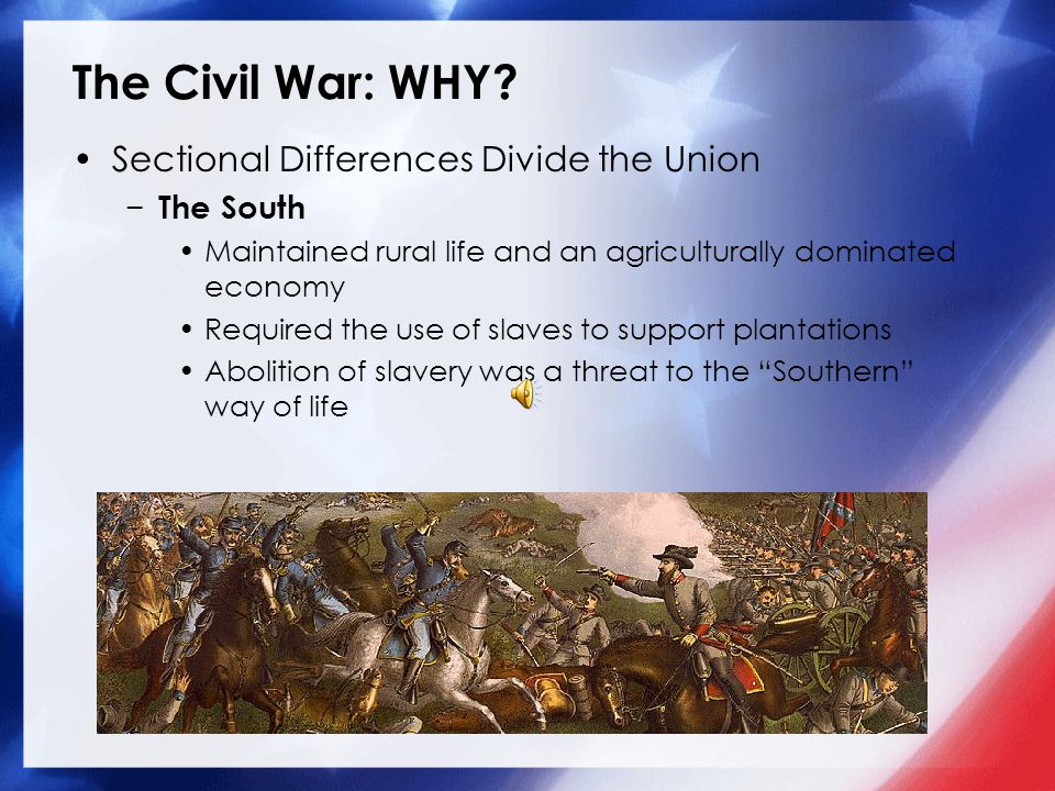 The Civil War: WHY? Sectional Differences Divide the Union − The North Increasingly urban/industrial, by 1860 35% of the population lived in cities Dr