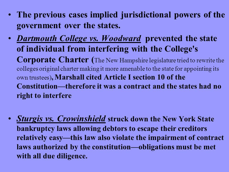 The previous cases implied jurisdictional powers of the government over the states.