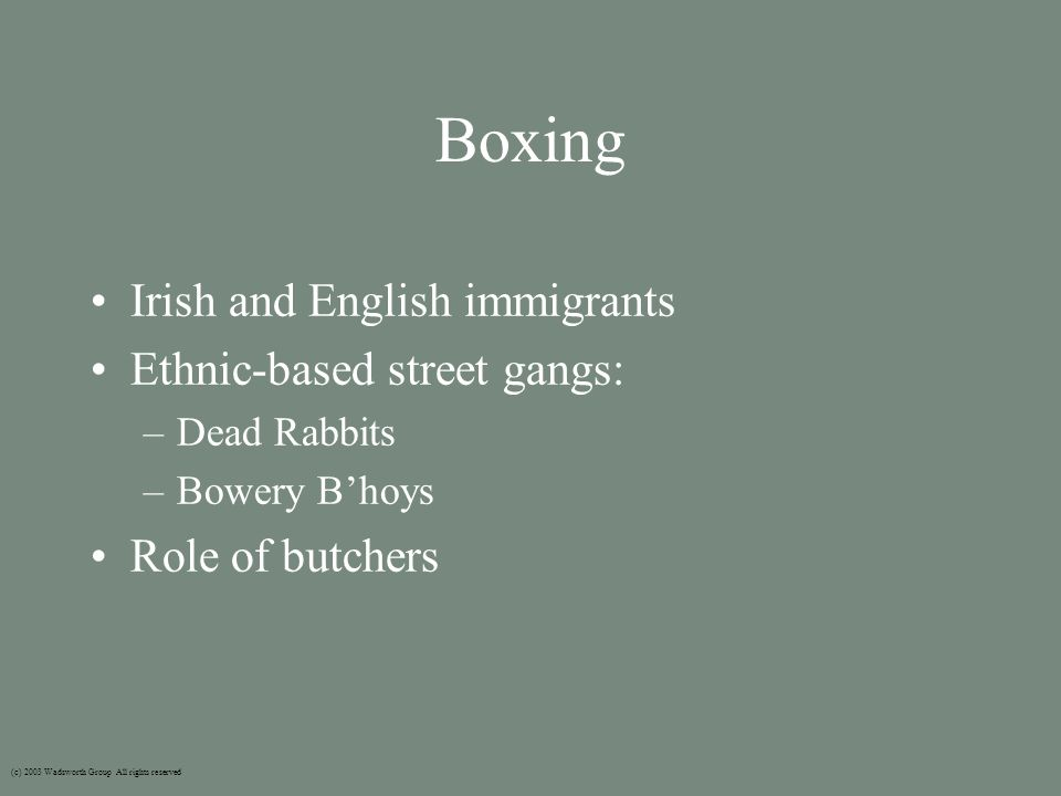 Boxing Irish and English immigrants Ethnic-based street gangs: –Dead Rabbits –Bowery B'hoys Role of butchers (c) 2003 Wadsworth Group All rights reserved