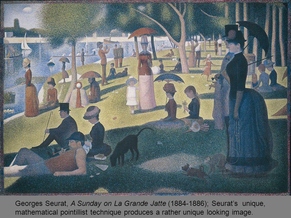 Georges Seurat, A Sunday on La Grande Jatte (1884-1886); Seurat's unique, mathematical pointillist technique produces a rather unique looking image.