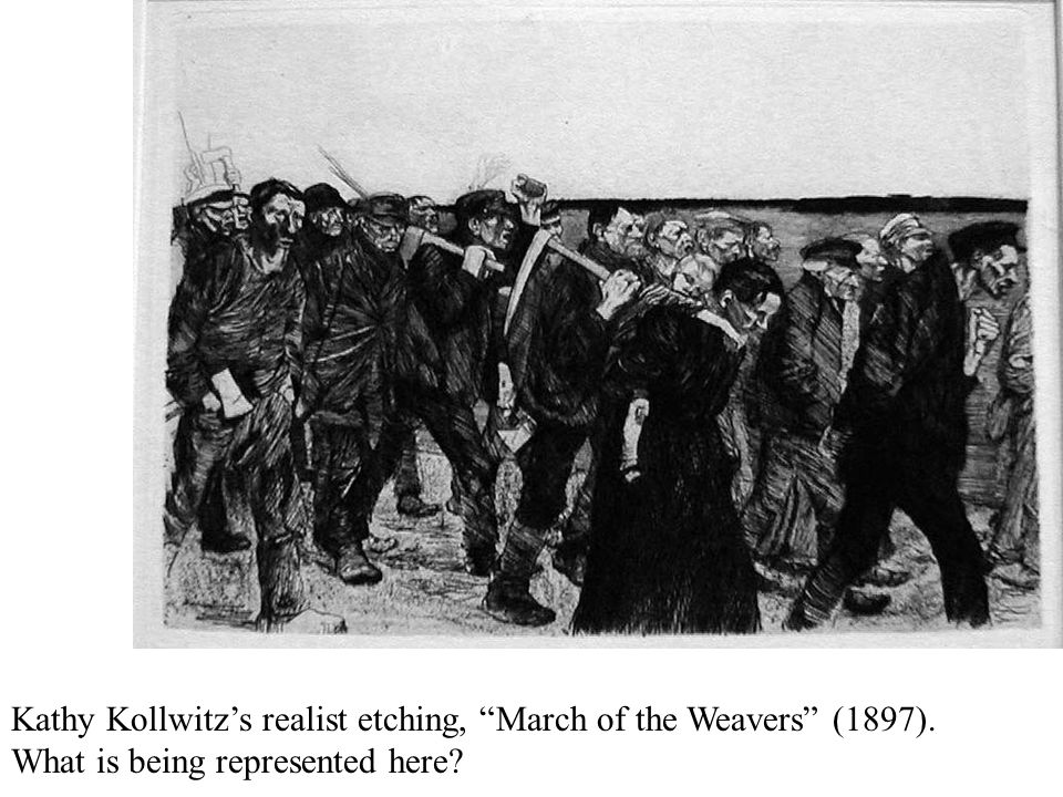 "Kathy Kollwitz's realist etching, ""March of the Weavers"" (1897). What is being represented here?"