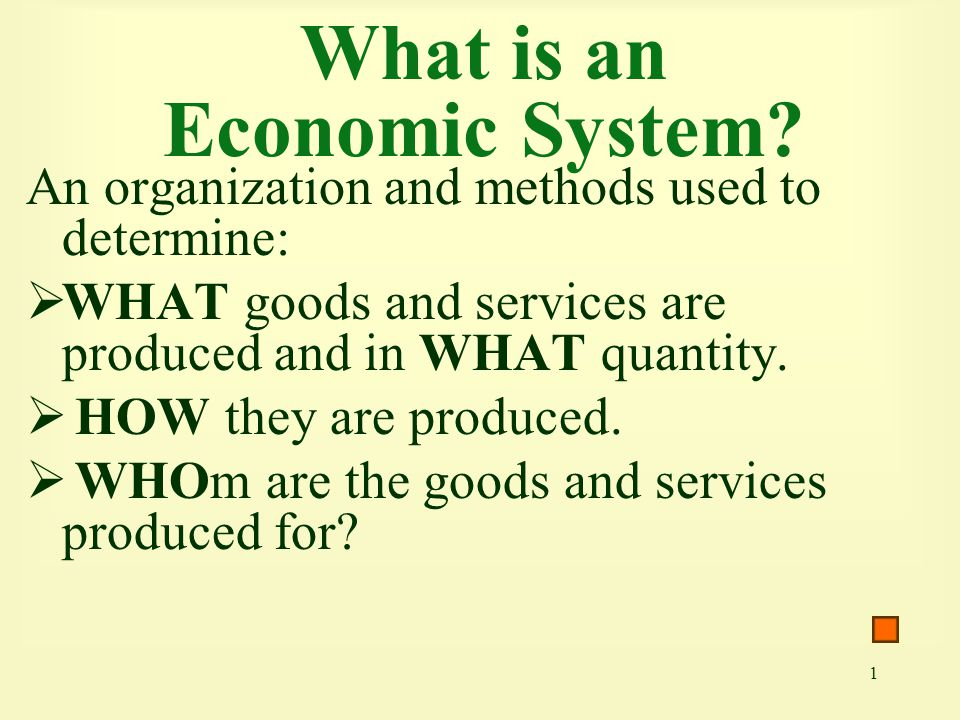 22 A Classification of Economic Systems Cuba Pure socialism Hong Kong U.S., Canada, Western Europe France, Sweden, Israel Mexico, Latin America, Japan China, former Soviet Union Pure capitalism