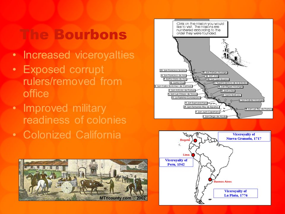 The Bourbons Increased viceroyalties Exposed corrupt rulers/removed from office Improved military readiness of colonies Colonized California