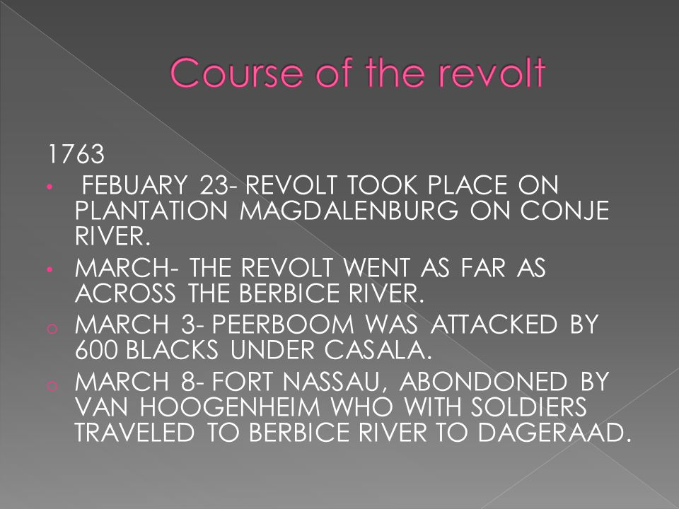 1763 FEBUARY 23- REVOLT TOOK PLACE ON PLANTATION MAGDALENBURG ON CONJE RIVER.