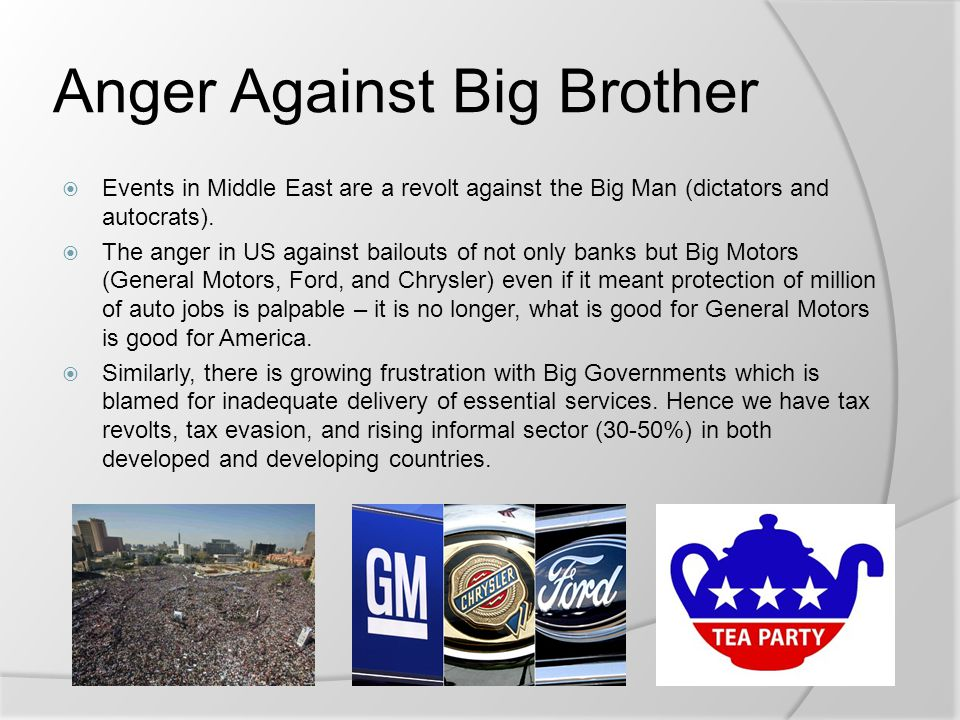 Anger Against Big Brother  Events in Middle East are a revolt against the Big Man (dictators and autocrats).