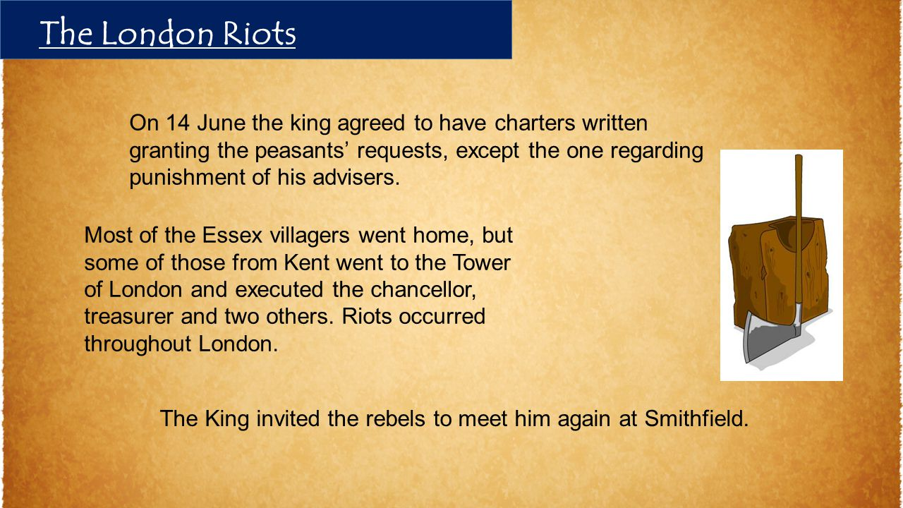 The King invited the rebels to meet him again at Smithfield. On 14 June the king agreed to have charters written granting the peasants' requests, exce