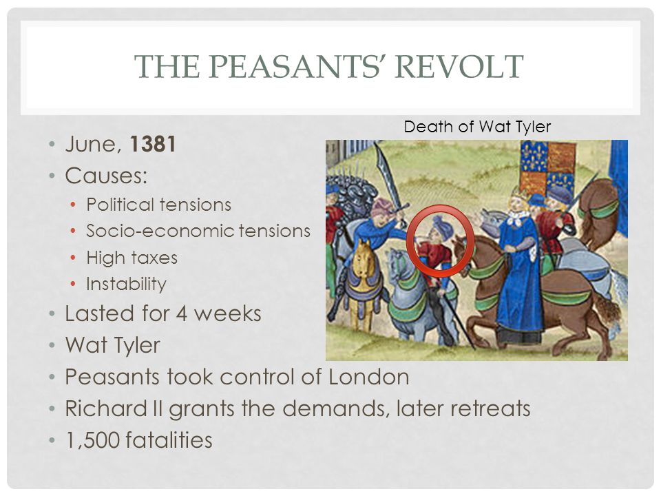 THE PEASANTS' REVOLT June, 1381 Causes: Political tensions Socio-economic tensions High taxes Instability Lasted for 4 weeks Wat Tyler Peasants took control of London Richard II grants the demands, later retreats 1,500 fatalities Death of Wat Tyler