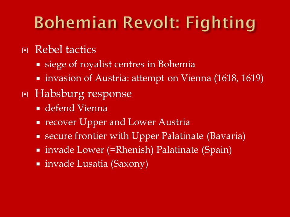  Battle of White Mountain, 8 November 1620  fall of Prague  submission of Moravia to Ferdinand II  surrender of Lusatia and Silesia to Johann Georg