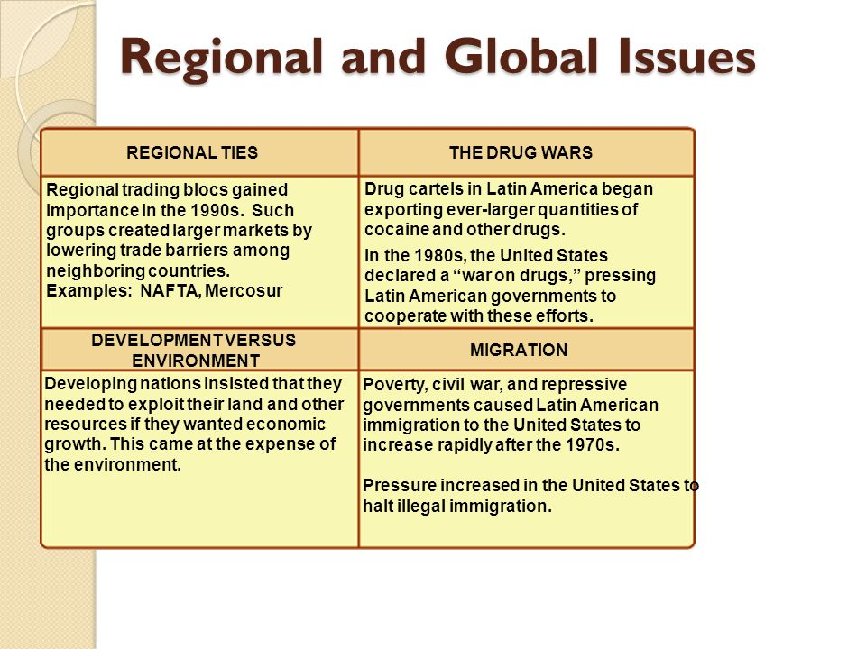 Regional and Global Issues Poverty, civil war, and repressive governments caused Latin American immigration to the United States to increase rapidly a
