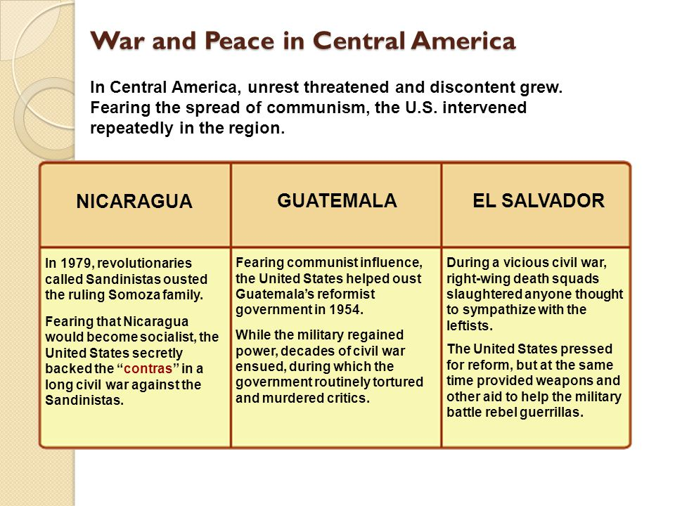 War and Peace in Central America During a vicious civil war, right-wing death squads slaughtered anyone thought to sympathize with the leftists.