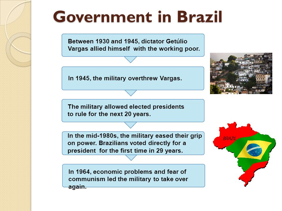 Government in Brazil Between 1930 and 1945, dictator Getúlio Vargas allied himself with the working poor. In 1945, the military overthrew Vargas. The