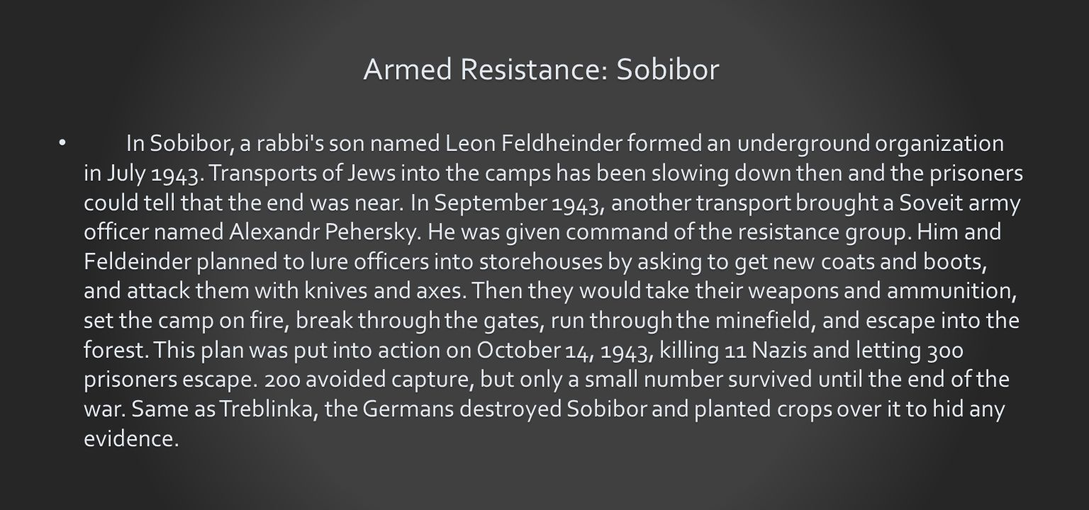 Armed Resistance: Sobibor In Sobibor, a rabbi s son named Leon Feldheinder formed an underground organization in July 1943.