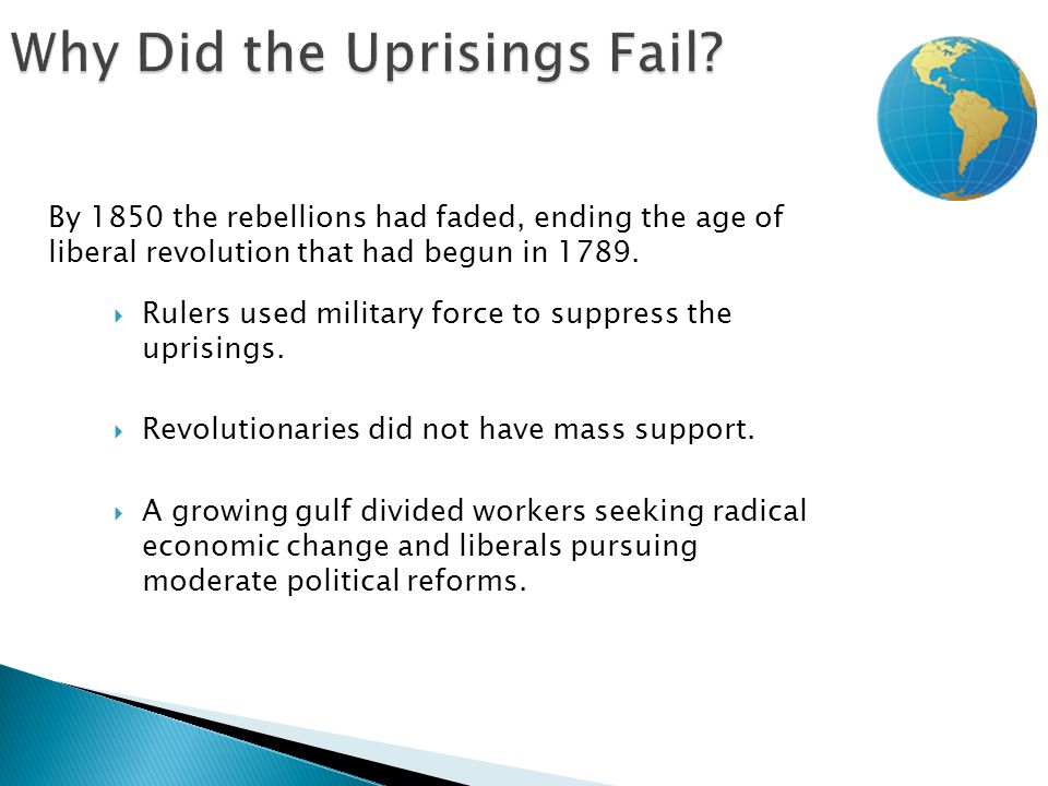  Rulers used military force to suppress the uprisings.  Revolutionaries did not have mass support.  A growing gulf divided workers seeking radical
