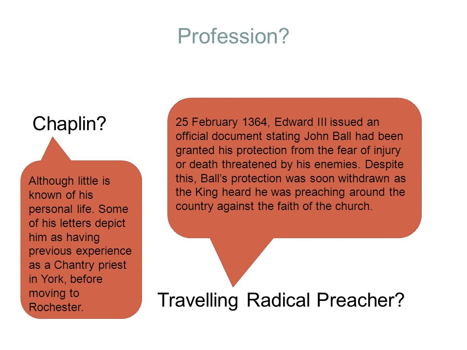 Profession. Chaplin. Travelling Radical Preacher.
