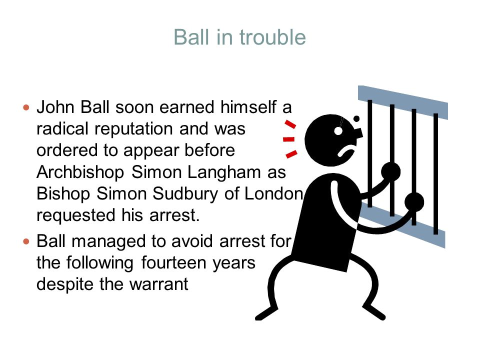 Ball in trouble John Ball soon earned himself a radical reputation and was ordered to appear before Archbishop Simon Langham as Bishop Simon Sudbury o