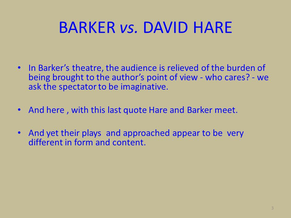 4 DAVID HARE Why Fabulate.Hare's plays are both fact/ argument & art.