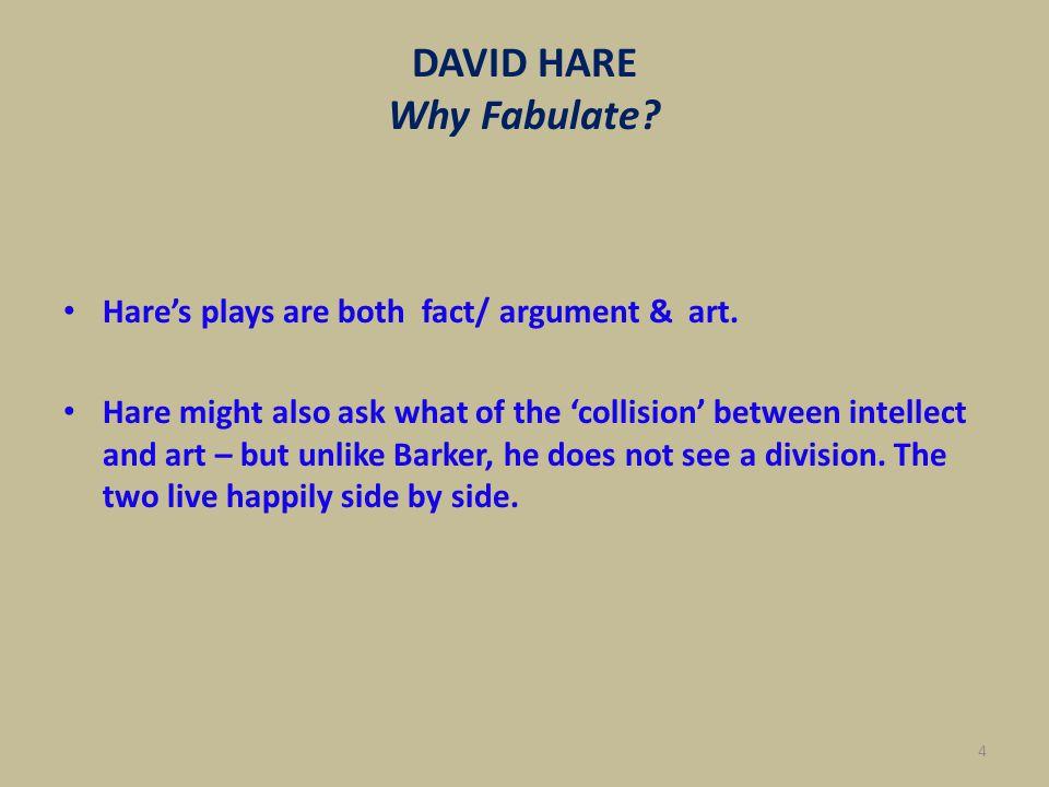 DAVID HARE Why Fabulate.