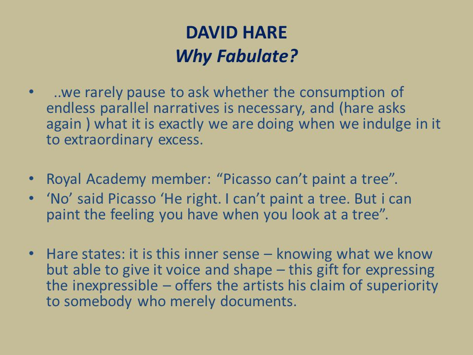 DAVID HARE Why Fabulate.The audience know they are watching a play.