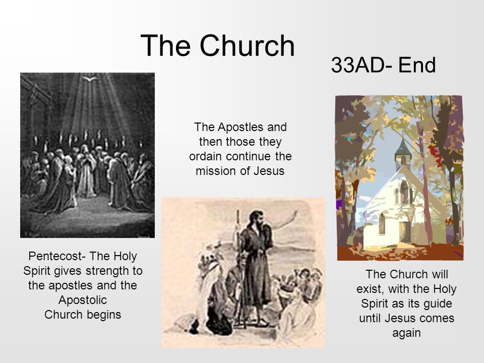 The Church 33AD- End Pentecost- The Holy Spirit gives strength to the apostles and the Apostolic Church begins The Apostles and then those they ordain continue the mission of Jesus The Church will exist, with the Holy Spirit as its guide until Jesus comes again