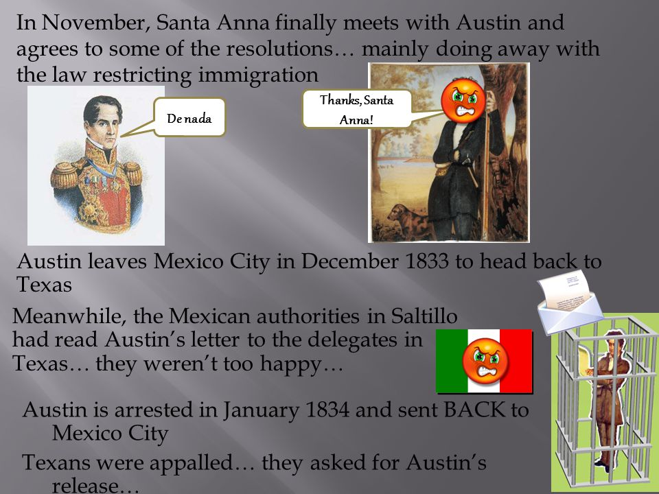 In July 1833, Austin arrives in Mexico City as a cholera epidemic is sweeping through the city Austin's meeting with Santa Anna is delayed because San