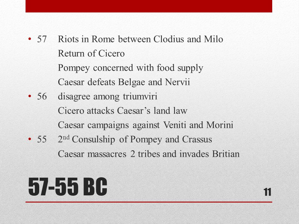 57-55 BC 57 Riots in Rome between Clodius and Milo Return of Cicero Pompey concerned with food supply Caesar defeats Belgae and Nervii 56disagree among triumviri Cicero attacks Caesar's land law Caesar campaigns against Veniti and Morini 552 nd Consulship of Pompey and Crassus Caesar massacres 2 tribes and invades Britian 11