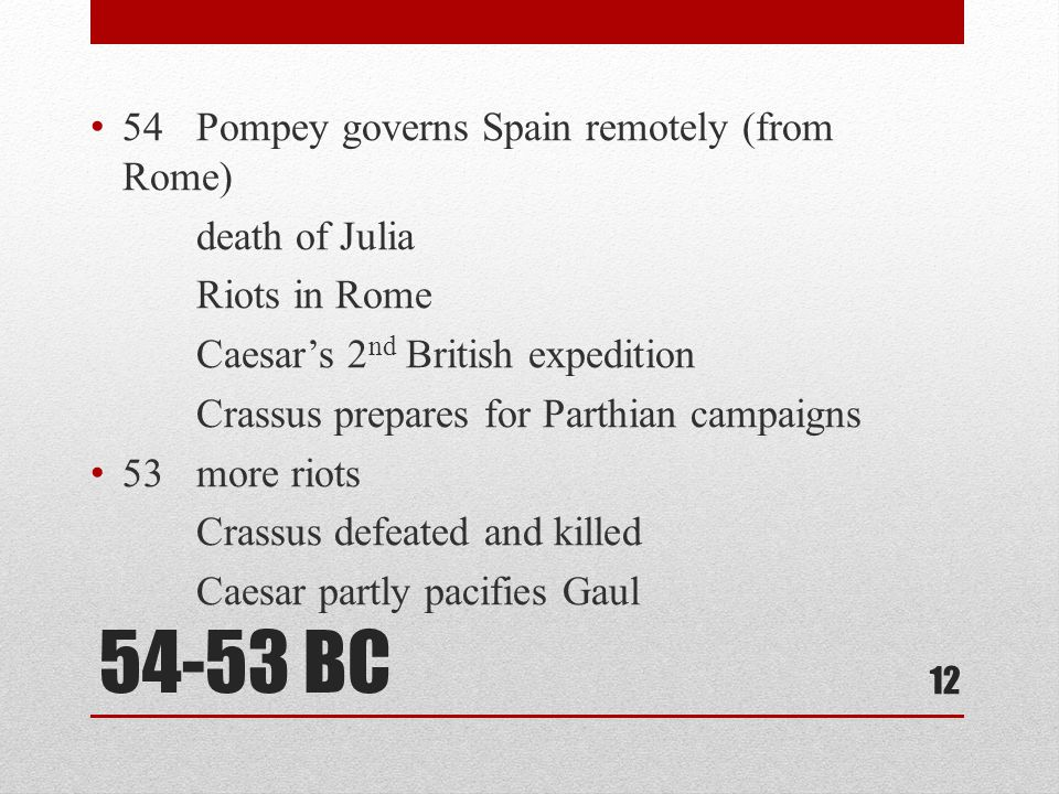 54-53 BC 54 Pompey governs Spain remotely (from Rome) death of Julia Riots in Rome Caesar's 2 nd British expedition Crassus prepares for Parthian campaigns 53 more riots Crassus defeated and killed Caesar partly pacifies Gaul 12