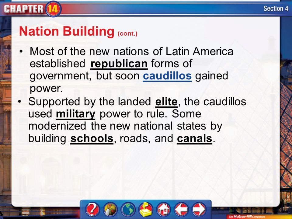 Section 4 Most of the new nations of Latin America established republican forms of government, but soon caudillos gained power.