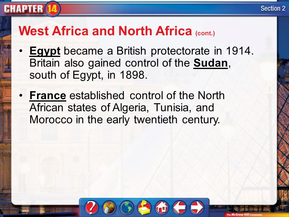 Section 2 Egypt became a British protectorate in 1914.