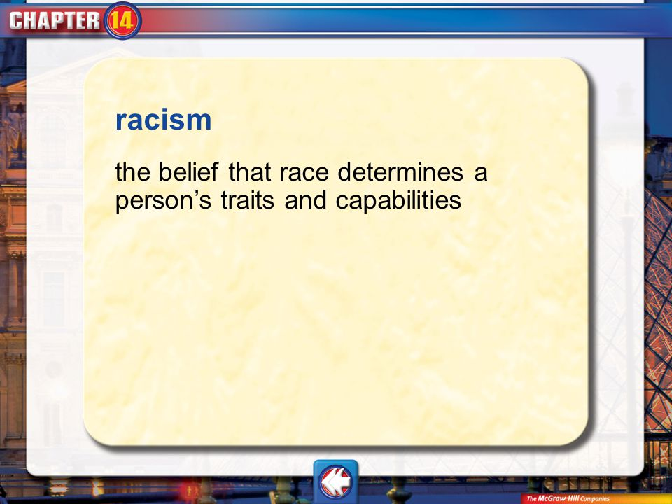Vocab2 racism the belief that race determines a person's traits and capabilities