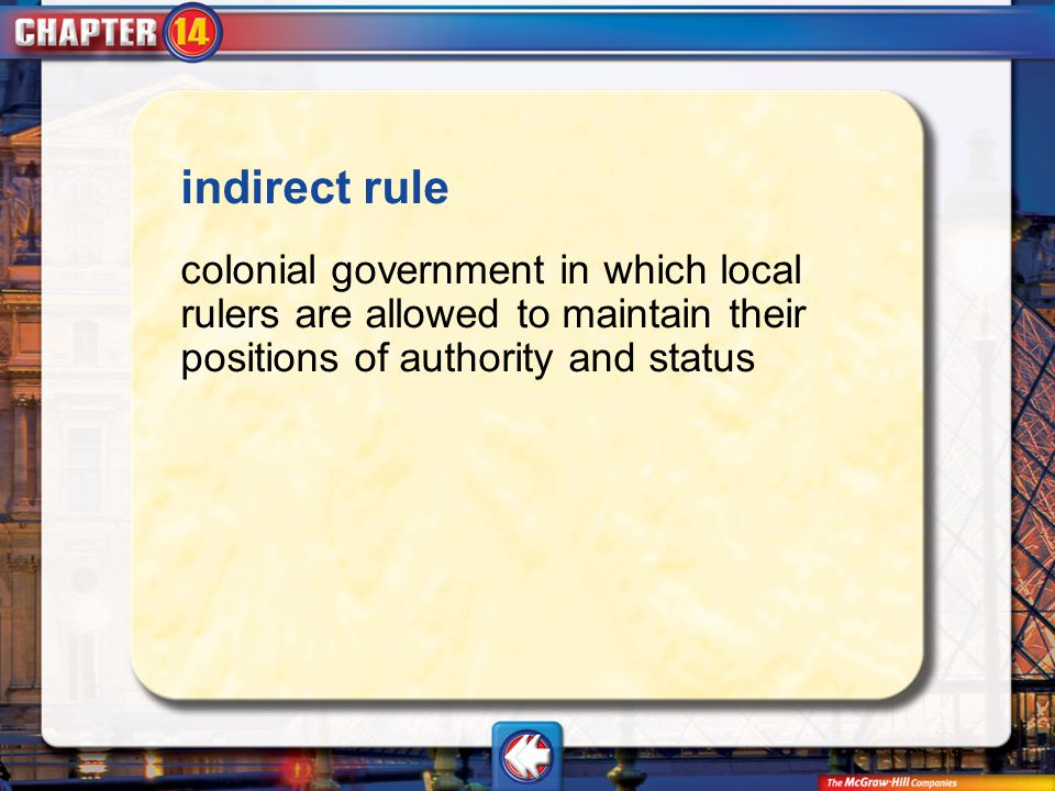 Vocab4 indirect rule colonial government in which local rulers are allowed to maintain their positions of authority and status