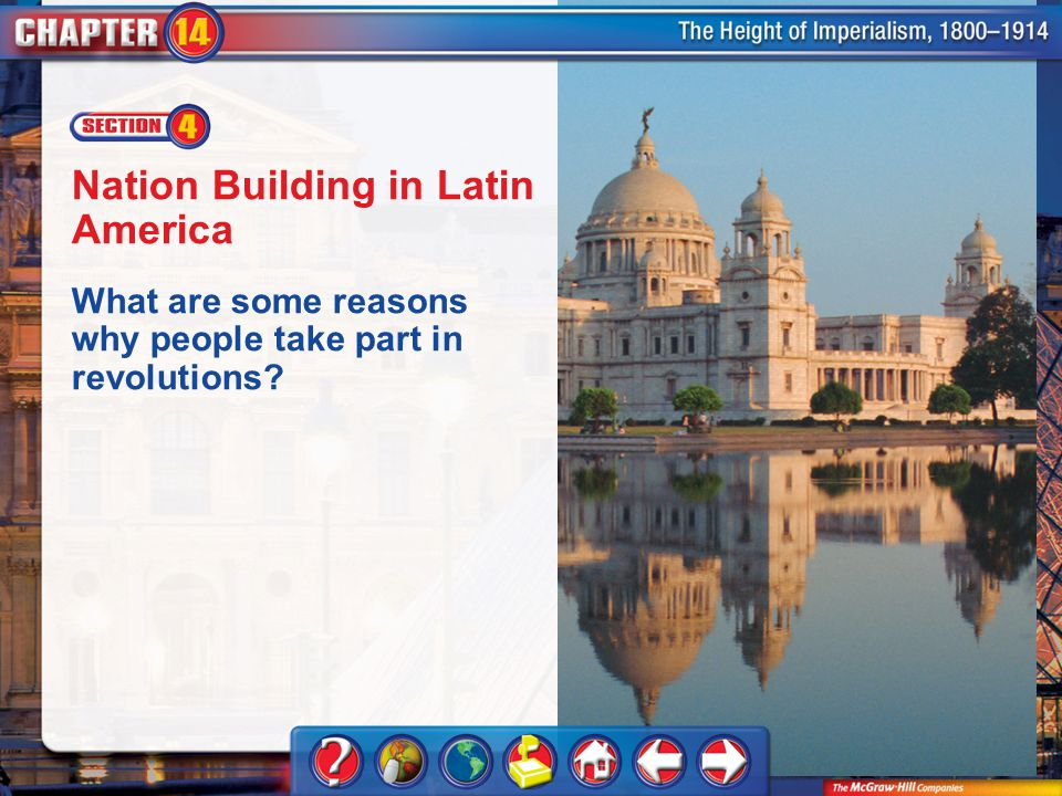 Chapter Intro 4 Nation Building in Latin America What are some reasons why people take part in revolutions?