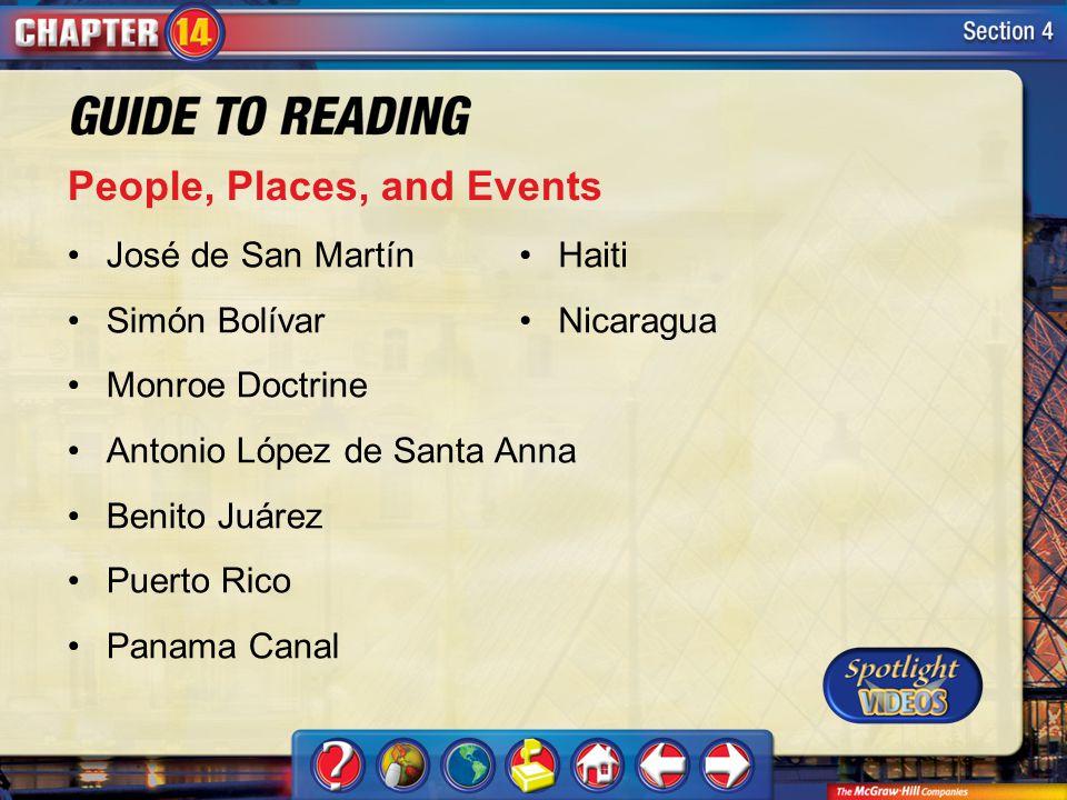 Section 4-Key Terms People, Places, and Events José de San Martín Simón Bolívar Monroe Doctrine Antonio López de Santa Anna Benito Juárez Puerto Rico Panama Canal Haiti Nicaragua