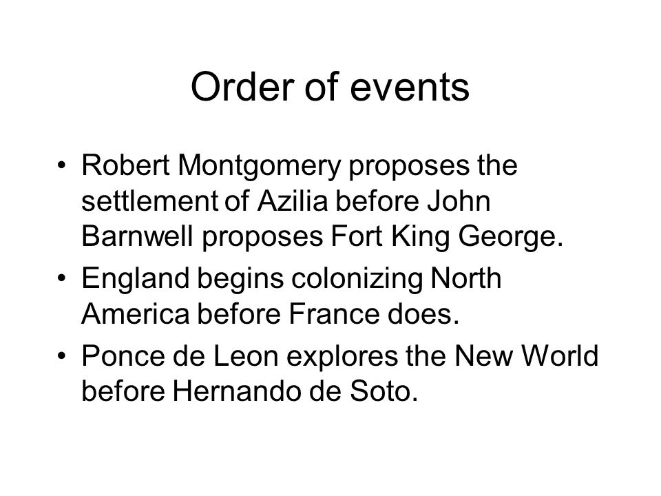 Order of events Robert Montgomery proposes the settlement of Azilia before John Barnwell proposes Fort King George.