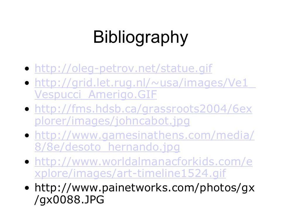 Bibliography http://oleg-petrov.net/statue.gif http://grid.let.rug.nl/~usa/images/Ve1_ Vespucci_Amerigo.GIFhttp://grid.let.rug.nl/~usa/images/Ve1_ Vespucci_Amerigo.GIF http://fms.hdsb.ca/grassroots2004/6ex plorer/images/johncabot.jpghttp://fms.hdsb.ca/grassroots2004/6ex plorer/images/johncabot.jpg http://www.gamesinathens.com/media/ 8/8e/desoto_hernando.jpghttp://www.gamesinathens.com/media/ 8/8e/desoto_hernando.jpg http://www.worldalmanacforkids.com/e xplore/images/art-timeline1524.gifhttp://www.worldalmanacforkids.com/e xplore/images/art-timeline1524.gif http://www.painetworks.com/photos/gx /gx0088.JPG