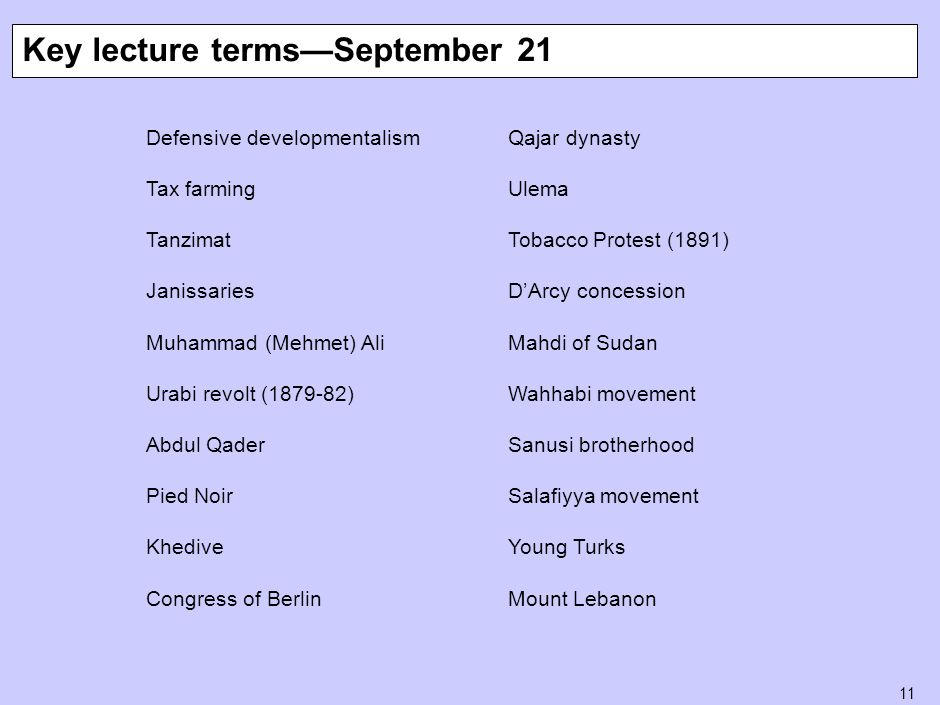 11 Defensive developmentalism Tax farming Tanzimat Janissaries Muhammad (Mehmet) Ali Urabi revolt (1879-82) Abdul Qader Pied Noir Khedive Congress of Berlin Key lecture terms—September 21 Qajar dynasty Ulema Tobacco Protest (1891) D'Arcy concession Mahdi of Sudan Wahhabi movement Sanusi brotherhood Salafiyya movement Young Turks Mount Lebanon