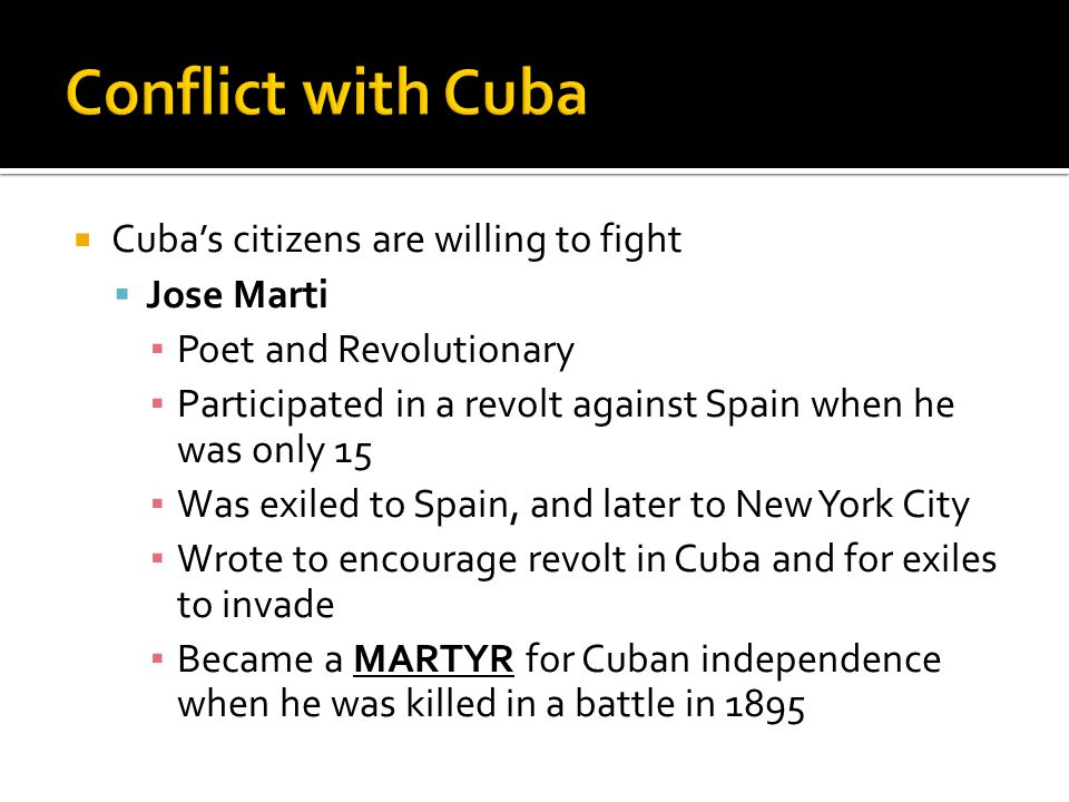  How does Spain react. Spain refuses to let Cuba become independent  1896- Gen.