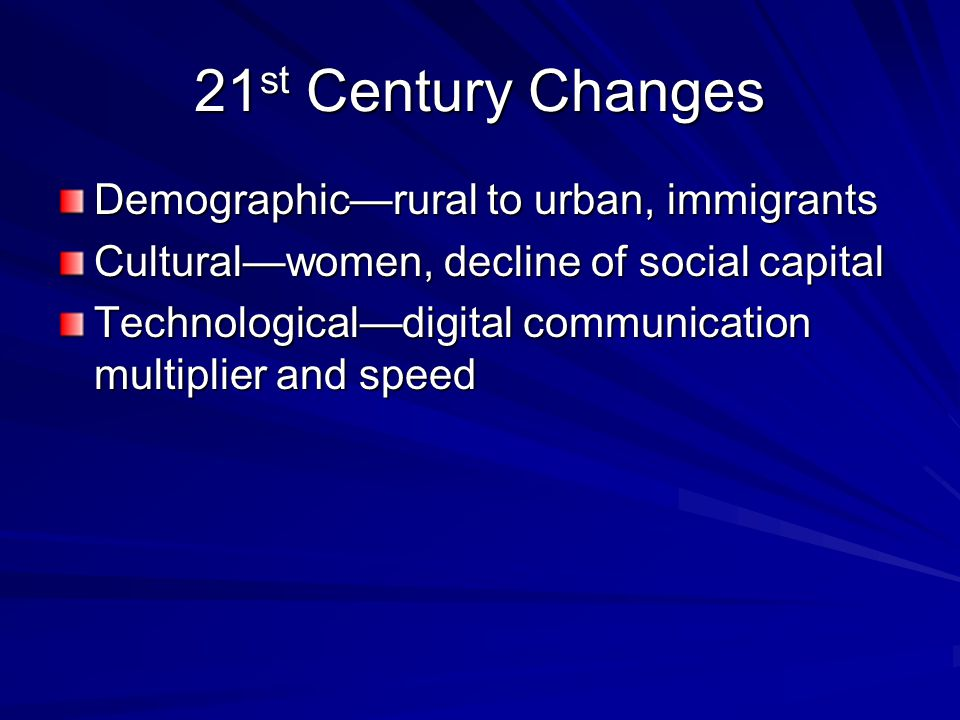 21 st Century Changes Demographic—rural to urban, immigrants Cultural—women, decline of social capital Technological—digital communication multiplier